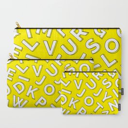 Vector Illustration White Yellow Pattern Children Learning Carry-All Pouch