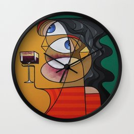 Cubist wine cup Wall Clock