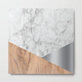 White Marble Wood & Silver #157 Metal Print