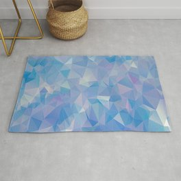 Abstract Polygonal Sky Blue Background Rug