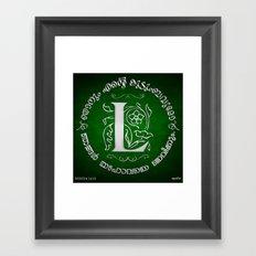 Joshua 24:15 - (Silver on Green) Monogram L Framed Art Print