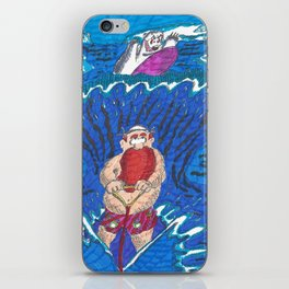 Water-ski, pursued by a surfing bear iPhone Skin