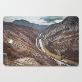 Beautiful picture of the canyon in Serbia, with river and the highway in the middle Cutting Board