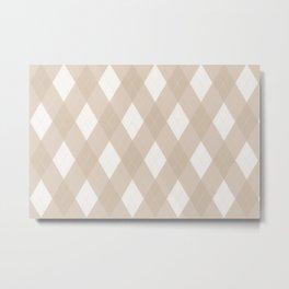 Pantone Hazelnut, Tan Argyle Plaid, Diamond Pattern Metal Print
