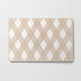 Pantone Hazelnut, Tan Argyle Plaid, Diamond Pattern Metal Print
