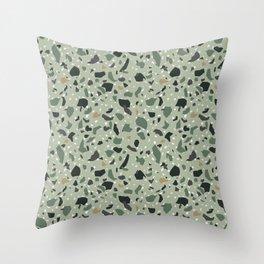 Green Terrazzo Throw Pillow