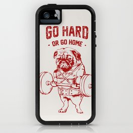 Go Hard Or Go Home Pug In Red iPhone Case