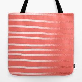 Living Coral Rose Gold Simply Drawn Stripes Tote Bag