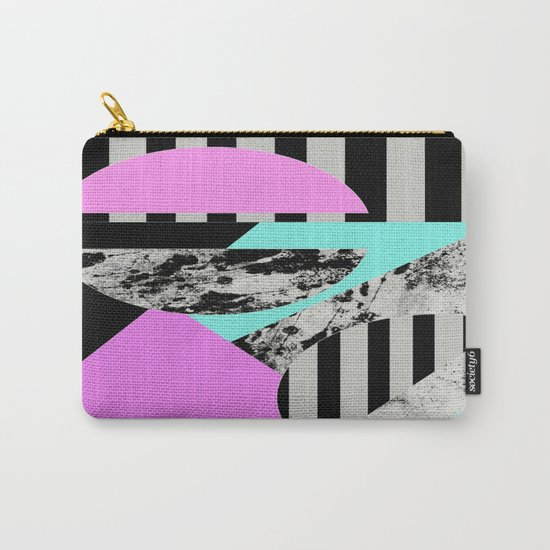Abstract Geometric Semi Circles In Block Pink, Balck And White And Stripes Carry-All Pouch