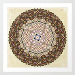 Vintage Textile YoYo Quilt Mandala Art Print