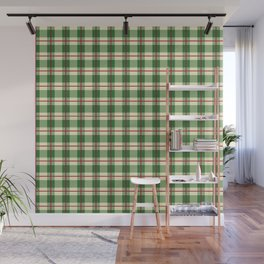 Plaid Pattern in Green and Beige Wall Mural