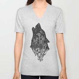 Adventure Wolf - Nature Mountains Wolves Howling Design Black on Turquoise Blue Unisex V-Neck
