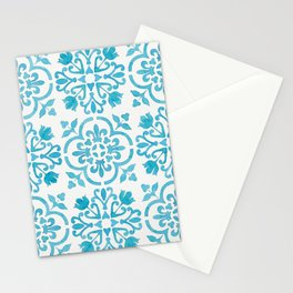 Watercolor Moroccan Tiles - Turquoise Blue Stationery Cards