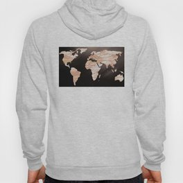 Earth Map Rose Gold Glitter Marble Space Hoody