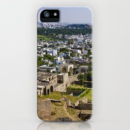 View of the Outer Wall Lining Golconda Fort and the Old City behind It in Hyderabad, India iPhone Case