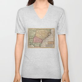 Vintage Map of The Carolinas (1746) Unisex V-Neck