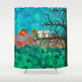 Owl Art by MiMi Stirn - Owl Couples# 341 Shower Curtain