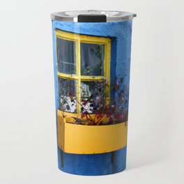 FLOWER - BOX - YELLOW - BLUE - WALL - PHOTOGRAPHY Travel Mug