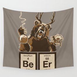 Funny chemistry bear discovered beer Wall Tapestry