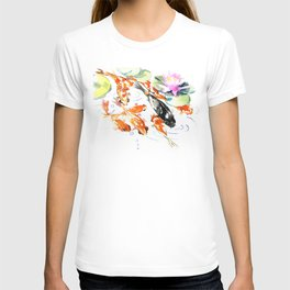 Nine Koi Fish, 9 KOI, feng shui artwork asian watercolor ink painting T-shirt