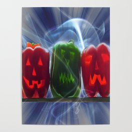 Jack O Lantern Bell Peppers Poster