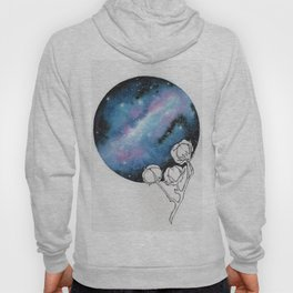 """""""Cotton Candy Galaxy"""" watercolor with pen drawn cotton Hoody"""