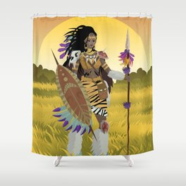 african huntress warrior Shower Curtain