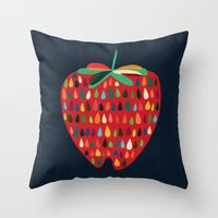 strawberry Throw Pillows featuring Strawberry by Picomodi