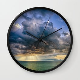 Heavenly lights through storm clouds over Lake Balaton Wall Clock