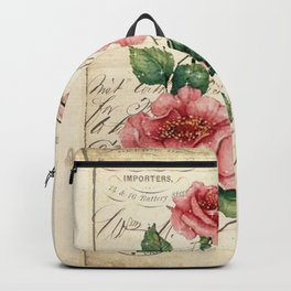 Vintage Roses Print Hummingbird Art Love Quote Rustic Decor Valentine Gift Backpack