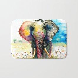 RAINBOW ELEPHANT WATERCOLOR Bath Mat
