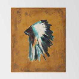 Native Headdress Orange Edit Throw Blanket