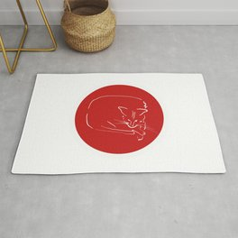 Relaxing Cat in red circle Rug