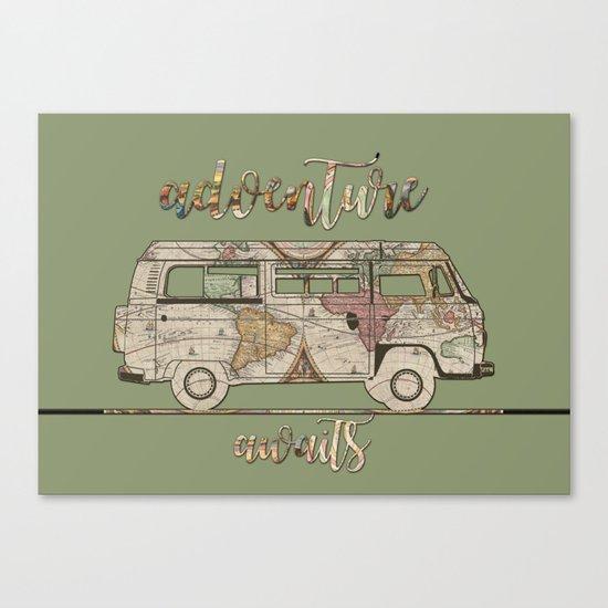 adventure awaits world map design Canvas Print
