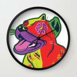 Pit Bull Dog Colorful Abstract Art Digitalart Gift Wall Clock