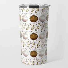 Modern white faux gold sequins geometrical dots stripes Travel Mug