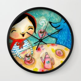 Little Red Riding Hood TEA party with Wolf by Tascha Wall Clock