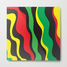 Red Yellow Green Black Rasta Wave Metal Print