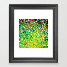 HOLIDAY CHEER - Bold Christmas Festive Green Red Yellow Sparkle Stars Glitter Bling Abstract Art Framed Art Print