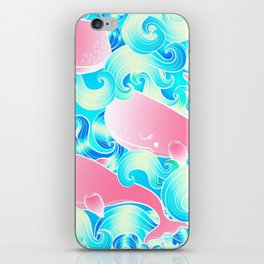 Pink Whales Pattern iPhone Skin