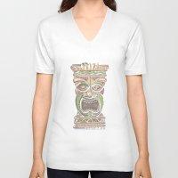 tiki V-neck T-shirts featuring Tiki by Lauren Ellisa