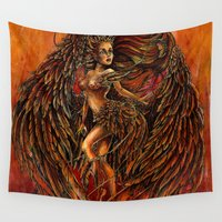 phoenix Wall Tapestries featuring Phoenix by Nemeth Alina