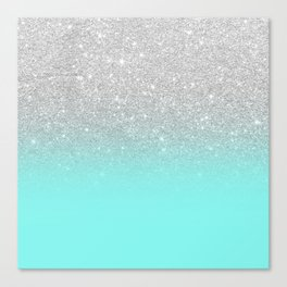 Modern girly faux silver glitter ombre teal ocean color bock Canvas Print