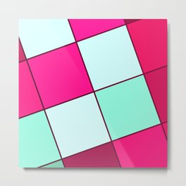 Pink Squares Metal Print