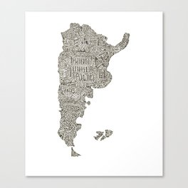 Lettering map of Argentina Canvas Print