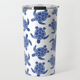 Sea Turtle in Dark Blue Travel Mug