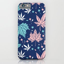 Pink and blue-green Japanese maple leaves pattern iPhone Case