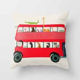 The big red bus Throw Pillow