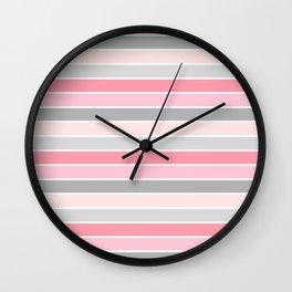 Blush & Gray Stripes Wall Clock
