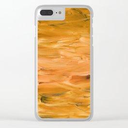 Burnt Orange Brush Strokes Clear iPhone Case